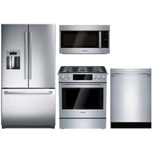 BOSCH 4-PIECE KITCHEN PACKAGE WITH GAS SLIDE-IN RANGE