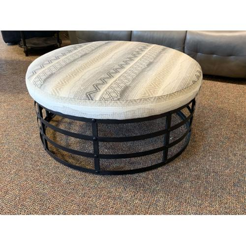 Metal Ottoman with Upholstered Top