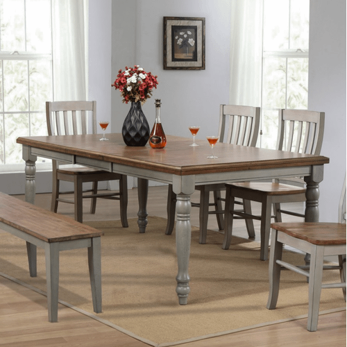 Winners Only - 6 Piece Set (Leg Table, 4 Chairs and Bench)