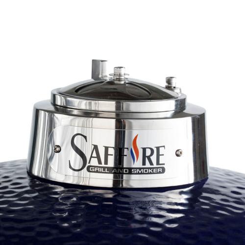 "Saffire Kamado - Platinum - Med 15"" - Black w/ Cart & Shelves"