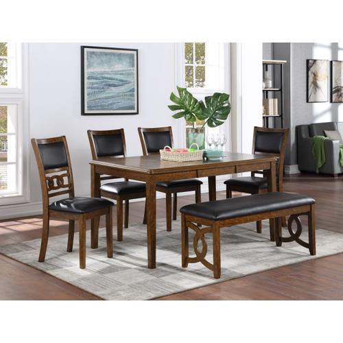 New Classic Furniture - Gia 6 Pc Regular Height Brown Dinette Set w/Padded Seats by New Classic, D1701-20