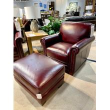 Chesapeake Burgundy Chair & Ottoman