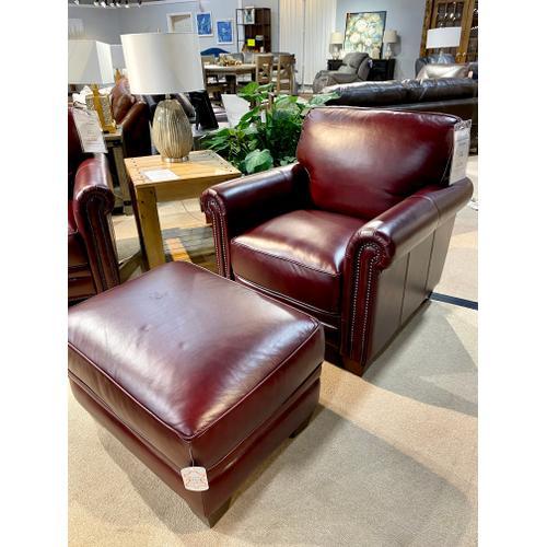 Chesapeake Burgundy Chair & Ottoman