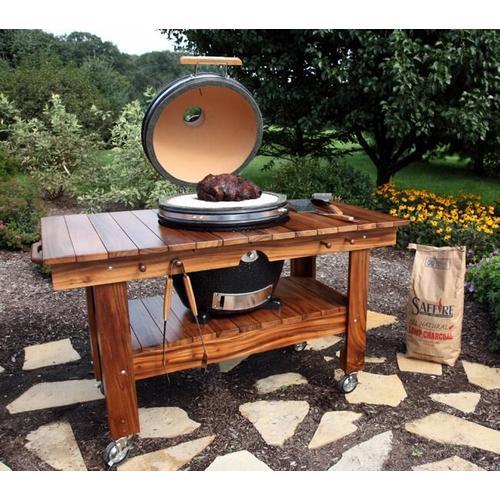 "Saffire Kamado - Bronze - Large 19"" - Black w/ Acacia Wood Top Table"