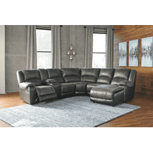 Nantahala - Slate - 2 Recliner Sectional with Right Facing Chaise and Console