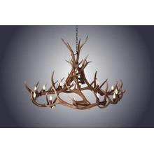 REAL 12 Light Elk Wagon Wheel Anterl Chandelier