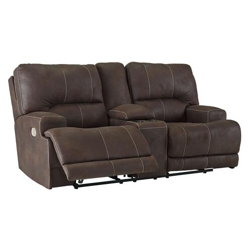 Kitching Power Reclining Console Loveseat with Adjustable Headrest