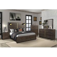 BERNARDS 1827-105HFQ 1827-105RL 1827-140 1827-130 Edison 3-Piece Bedroom Group - Queen Panel Bed, Dresser & Mirror