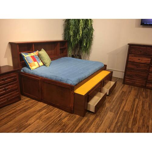 """Full Captains Bed W"""" Trundle & Drawers Cocoa"""