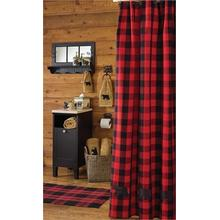 Buffalo Check Bear Applique Shower Curtain