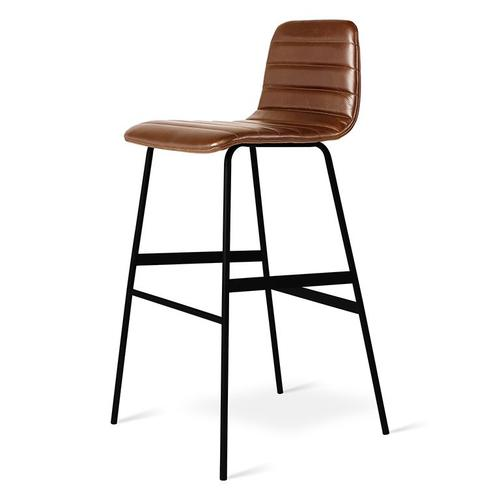 Gus Modern - Lecture Upholstered Barstool Saddle Brown Leather