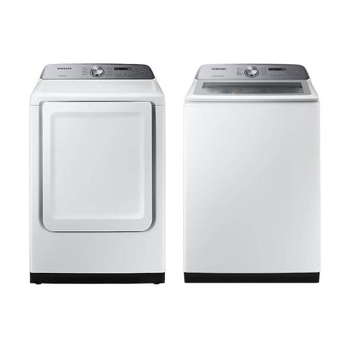 Samsung 5.0 cu. ft. Hi-Efficiency White Top Load Washing Machine with Active Water Jet and 7.4 cu. ft. White Electric Dryer with Sensor Dry