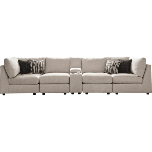 Kellway Bisque 5-Piece Sectional with Storage Console