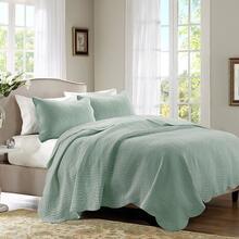 Queen/Full Tuscany 3 Piece Reversible Scalloped Edge Coverlet Set - Seafoam