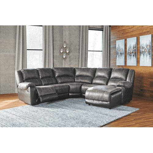 Nantahala - Slate - 2 Recliner Sectional with Right Facing Chaise