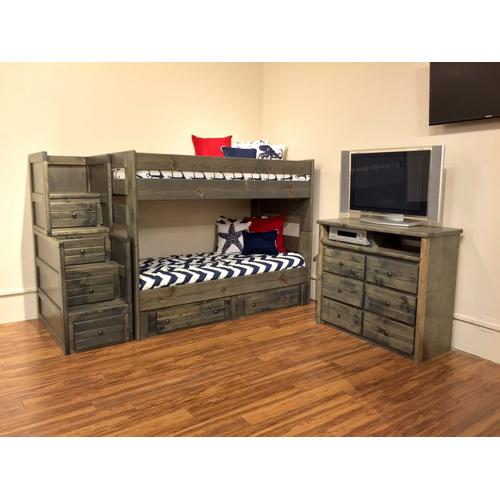 Wrangler Twin / Twin Bunk Bed with Staircase Rustic Grey