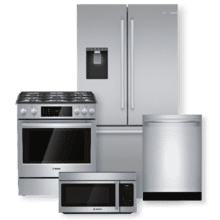 BOSCH 500 Series Stainless Steel French Door Refrigerator & Dual Fuel Slide-In Range Package