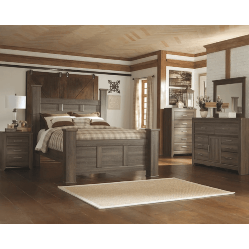 Juararo- Dark Brown- 7 Pc.- Dresser, Mirror, Chest, Nightstand & Queen Poster Bed