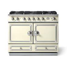 "La Cornue 43"" CornuFe 110 Blanc With Satin Chrome Dual Fuel Range"