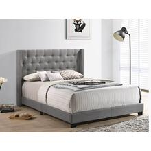 Grey Upholstered Bed - Queen