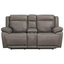 Evo Power Reclining Console Loveseat w/ Adjustable Headrest