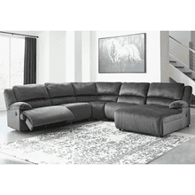 Clonmel - Charcoal - 2 Recliner Sectional with Pressback Chaise