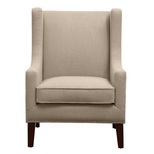 Ollix - BEIGE WING CHAIR WITH NAILHEAD TRIM