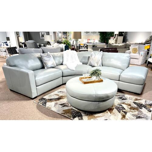 Simon Li Furniture - Leather Sectional w/ Bumper Chaise & Ottoman in Caesar Ice