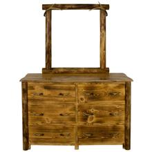 WCB729 Burnt Cabin Size 6-Drawer Dresser with Antlers
