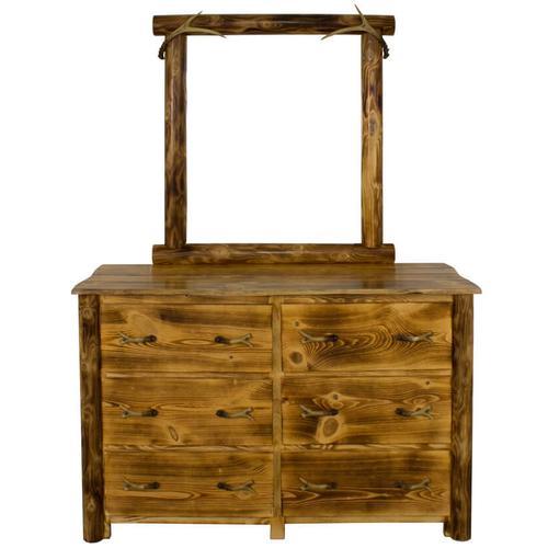 Best Craft Furniture - WCB729 Burnt Cabin Size 6-Drawer Dresser with Antlers