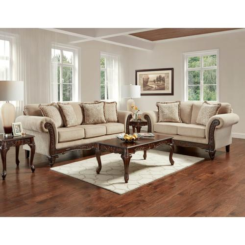 8550 Emma Wheat 5PC Package: Sofa, Loveseat & 3PC Table Set