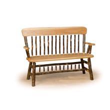See Details - Hickory Oak Back Deacon Bench