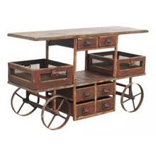 Vinters Solid Wood Antique Red Cart with Wheels