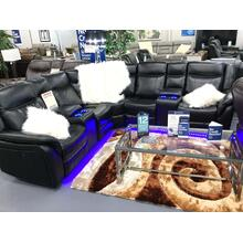 Power reclining sectional with power reclining seats, USB & Led Lights.