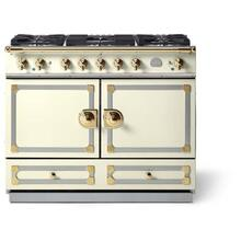 "La Cornue 43"" CornuFe 110 Blanc With Polished Brass Dual Fuel Range"