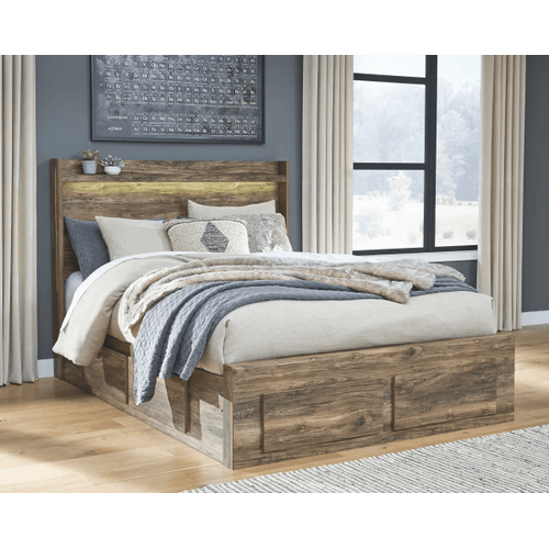 Rusthaven- Brown- Queen Panel Bed with 6 Drawer Storage