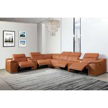 See Details - 9762 - Camel 4-Power Reclining 8PC Sectional /w 2-Consoles