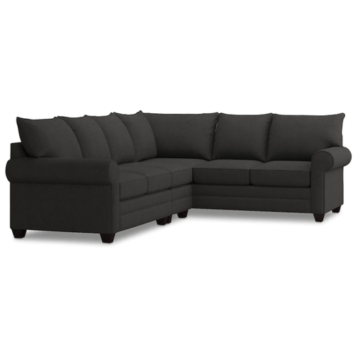 Alex Roll Arm Left Sectional - Charcoal