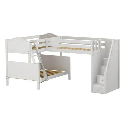 Corner Twin over Full Bunk w/ Angle Ladder & with Twin Loft & Staircase In White Finish