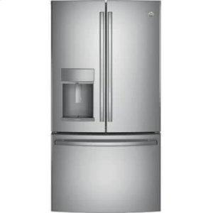 GE36 Inch French Door Refrigerator with 27.8 cu. ft. Capacity, TwinChill™, Turbo Cool, Autofill Dispenser, Temperature-Controlled Drawer, LED, Spill-Proof Shelves, Sabbath Mode, ADA Compliant, and ENERGY STAR® Qualified: Fingerprint Resistant Stai