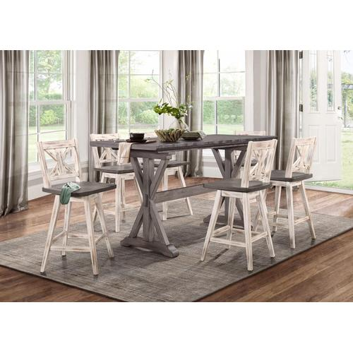 7PC SET (Counter Height Dining Table with 6 Stools)