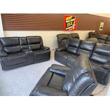 Ennis 3-Pc. 3X Power Set (Sofa, Love w/Console and Recliner) . The Ennis Triple Power collection is a plush family favorite with bucket seats, sloping cusioned arms and padded lumbar support.  Power switches on both outside arms raise the padded leg rests, adjust the lumbar and headrests for reading, relaxing or watching TV.  Featuring an elegant leather-look PU, this piece cleans easily and looks elegant.