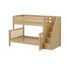 Twin/Full Bunk w/ Staircase In Natural Finish