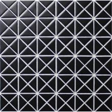 1 Pure Color Pattern Triangular Glossy Black Porcelain Mosaic Tile