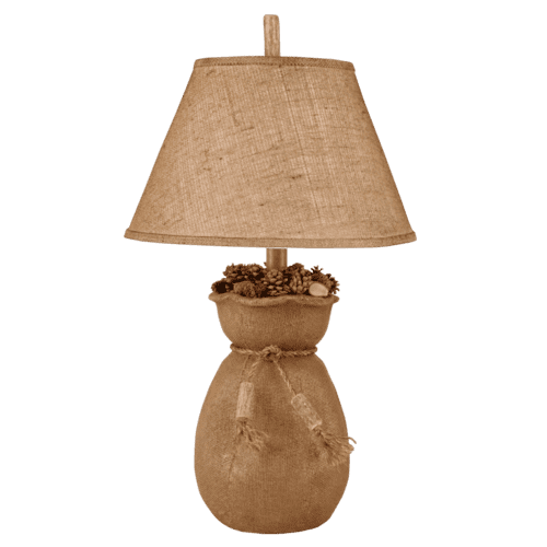 Burlap Bag of Pine Cones Table Lamp