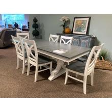 Rectangle Dining Set with White and Grey Finish - 6 Chairs