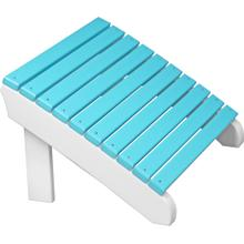 Deluxe Adirondack Footrest Aruba Blue and White