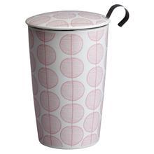 Eigenart Double Wall Porcelain Tea Cup Leaf Teaeve with Porcelain Lid and Stainless Steel Tea Strainer, 11.85 Oz