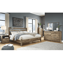 Rusthaven- Brown- Dresser, Mirror, Chest, Nightstand & King Panel Bed