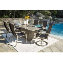 See Details - Outdoor Fire Pit Dining Table and 4 Swivel Rocker Chairs